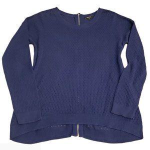 RW&Co. Open Knit Zipper Back Cotton Sweater